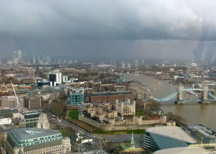 Sky Garden, view east, Tower of London, Tower Bridge