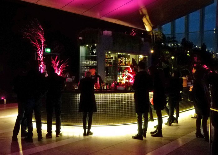 Skypod Bar at Sky Garden, London, night