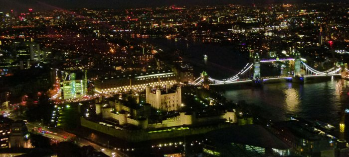 Blurred view, Sky Garden, Tower Bridge, Tower of London
