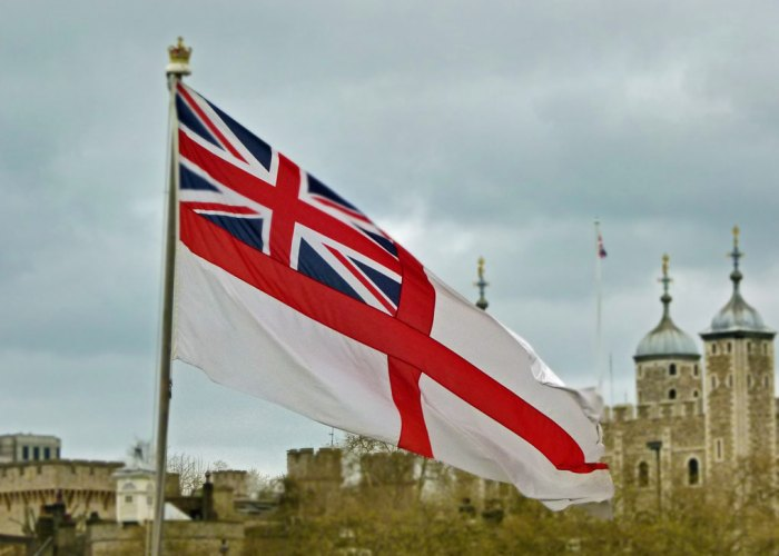 White Ensign, St George, HMS Belfast, London