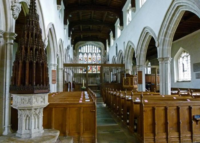 Ewelme church nave, roof, font, carved head, Edward III