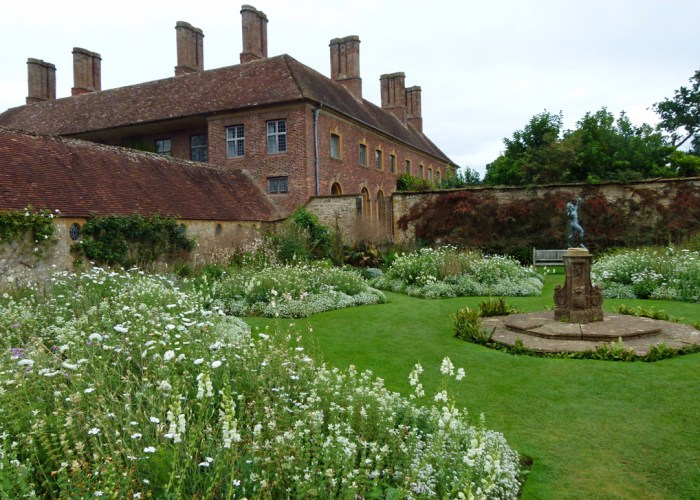 Barrington Court, White Garden, faun sculpture, Strode House
