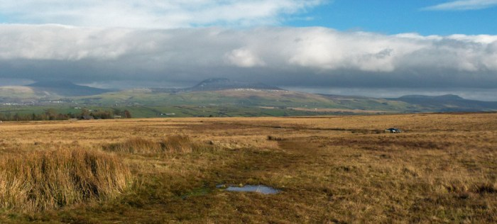 View, Yorkshire's three peaks, Whernside, Ingleborough, Pen-y-Ghent, Great Stone of Fourstones