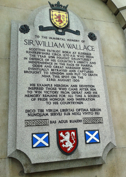 Wallace memorial, Smithfield, London, text