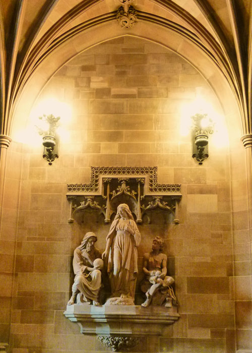 John Rylands Library, sculpture, Theology Directing the Labours of Science and Art, John Cassidy