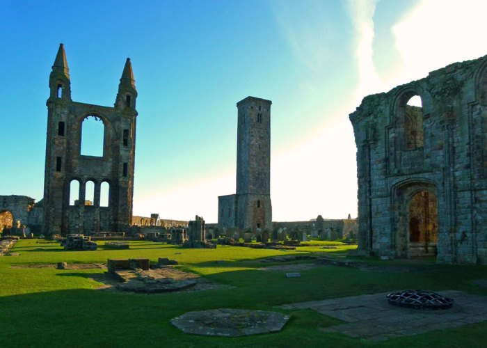 St Andrew, the ruins of St Andrews Cathedral and St Rule's Church