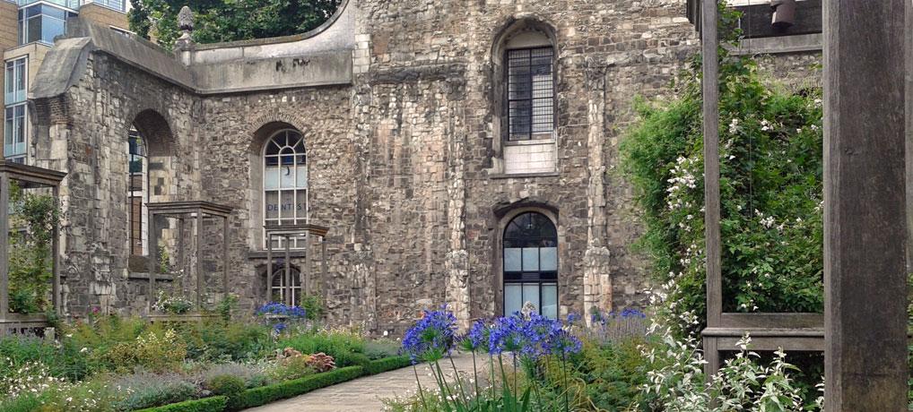 The garden inside Christ Church Greyfriars, London