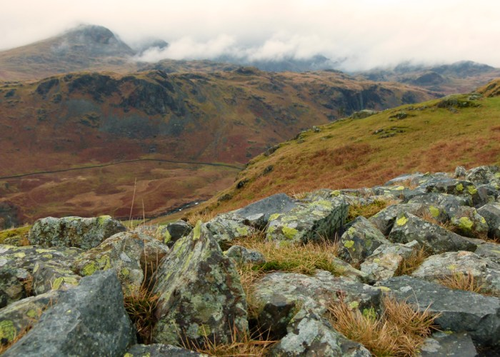 View from Hardknott Roman Fort to Scafell