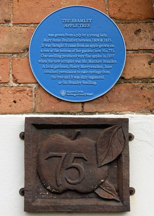 Bramley apple, plaque, 75 Church Street, Southwell