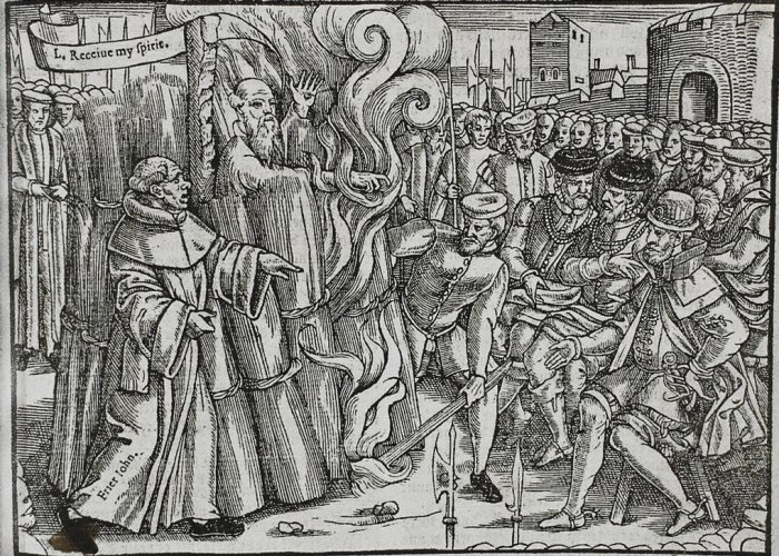 Cranmer burning at the stake