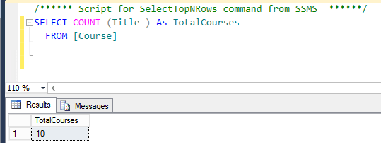 Count function in sql