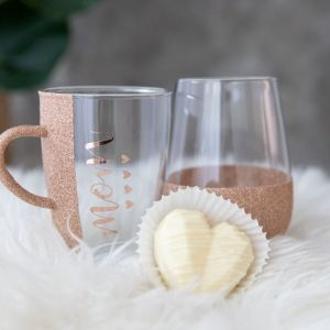 Personalized Glittered Stemless Glass, Cup and Hot Chocolate Bomb set