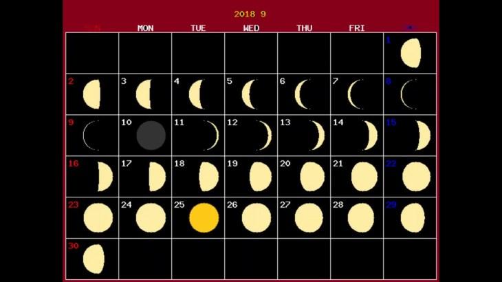 月齢カレンダー2018年9月 (株価予測・ビットコイン・金先物)月の満ち欠け・体調・精神・感情