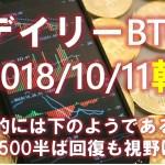【デイリービットコイン】10月11日朝のBTC分析&短観 TA的にはどうしても下になるが6500中盤回復の実績も視野に