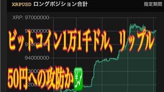 【仮想通貨】リップル最新情報❗️ビットコイン1万1千ドル、リップル50円への攻防か💹