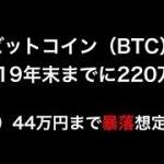 【仮想通貨】ビットコイン(BTC)年末までに220万円予想!ただし、44万円まで暴落する可能性も。今後の予測。(2019最新情報)