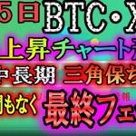 【仮想通貨】ビットコイン・リップル BTCが間もなく直近の最高値にチャレンジか!?三角保ち合いの終局も間近、要注目!!
