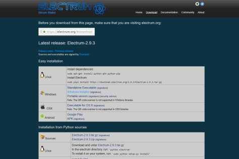 Download the Electrum Wallet software (Image: Bitcoin Investors UK)