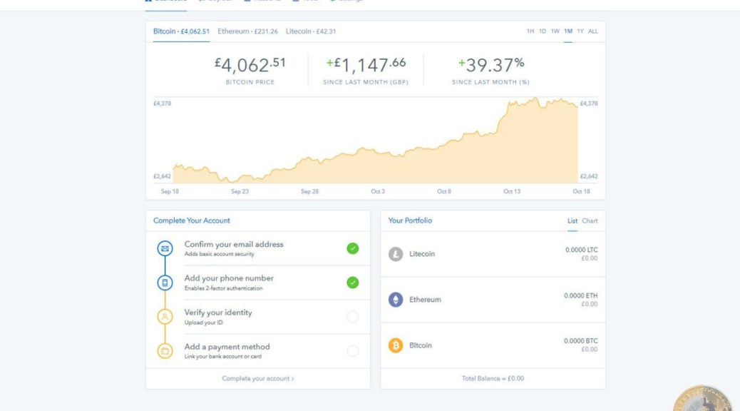 Coinbase Dashboard (Image: Bitcoin Investors UK)