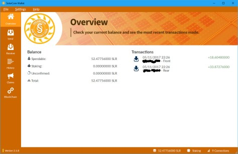 First SolarCoin claim received (Image: Bitcoin Investors UK)