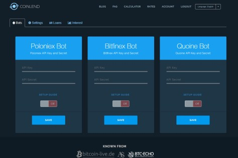 Coinlend Bot screen (Image: BIUK)