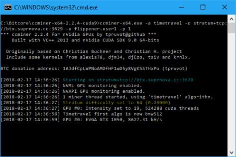 CCMIner starting up on a GTX 1050 GPU (Image: BIUK)