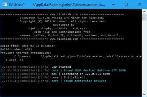 NiceHash Miner command window (Image: BIUK)