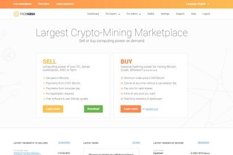 NiceHash Mining Marketplace Home Page (Image: BIUK)
