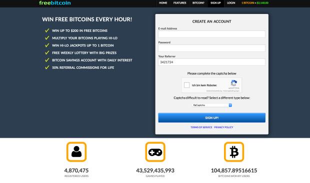 Freebitco.in Webseite - Gratis Bitcoins verdienen