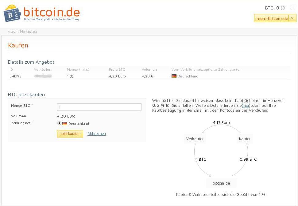 Bitcoin.de Bitcoins kaufen