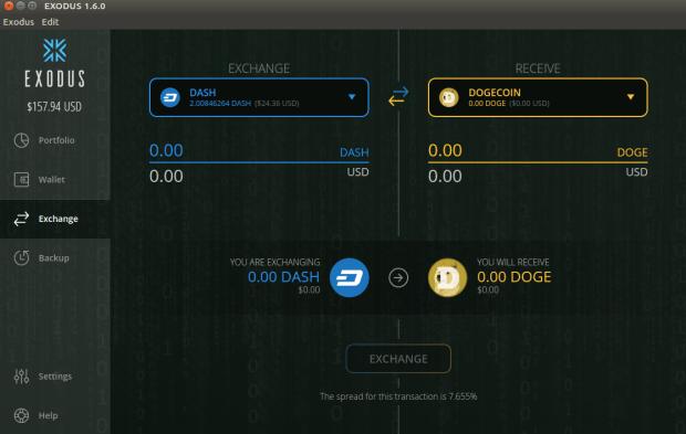 Mit Exodus kann man einfach in der Wallet Coins wechseln.