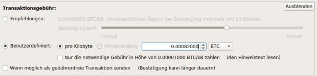 Der Bitcoin-Client hat die Option, die Gebühren je Kilobyte selbst einzustellen.