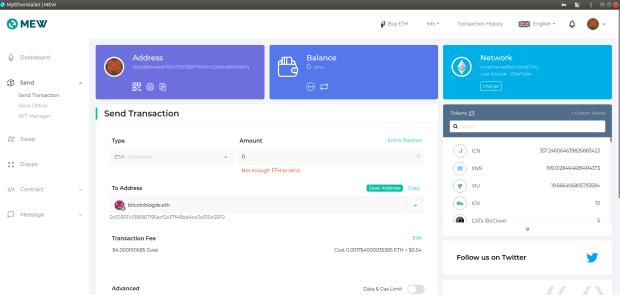 Die lokale Version der Wallet MyCryptoWallet. Ins Senden-Feld wurde die ENS-Domain bitcoinblogde.eth eingegen. Die Wallet schlägt im ENS-Smart-Contract nach, um die Domain in eine Ethereum-Adresse aufzulösen.