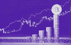 Bitcoin steigt stark im Preis und kann Kursgewinne verzeichnen. Das Bild zeigt eine Preiskurve sowie gestapelte Bitcoins.