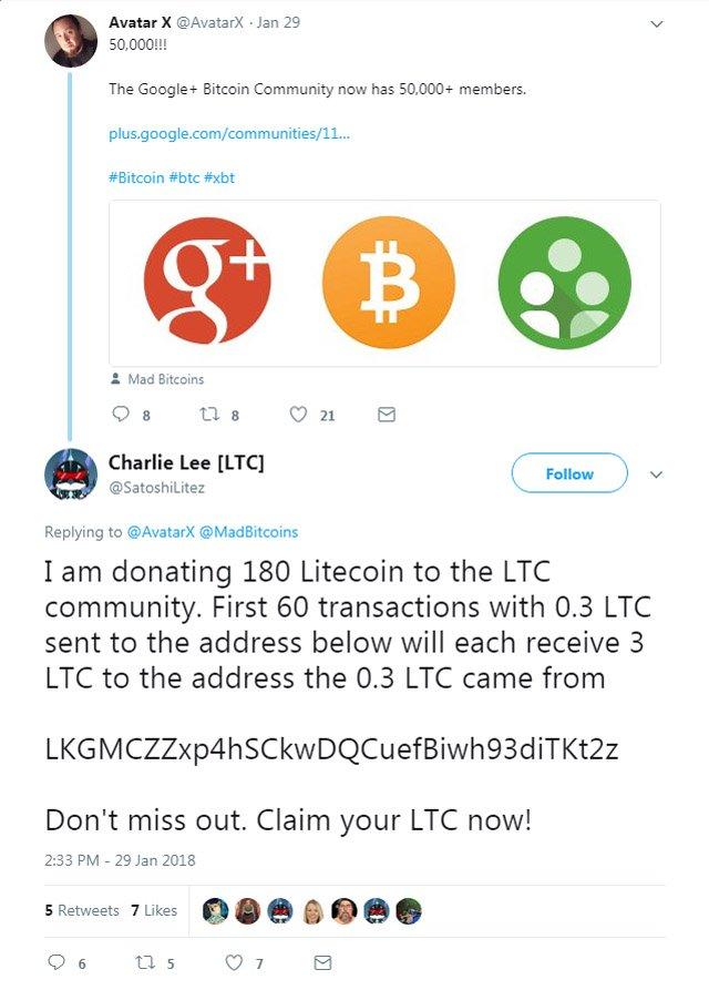 Fake Charlie Lee Twitter account