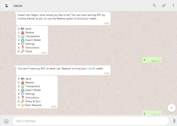 Send and Receive Bitcoin via WhatsApp