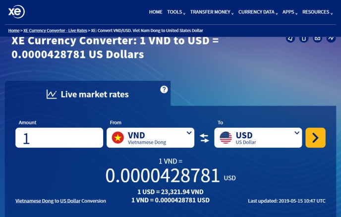 Vietnamese Dong USD