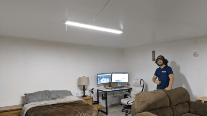 Nick Sears in his room on-site at the SCATE Ventures mining farm in Dallesport, Washington. Source