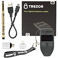 Trezor (Black) Bitcoin Hardware Wallet Bundle With VUVIV Micro-USB Adapter, VUVIV USB-C Adapter for MacBook and Sakura Pigma Archival Ink Pen (4 items)