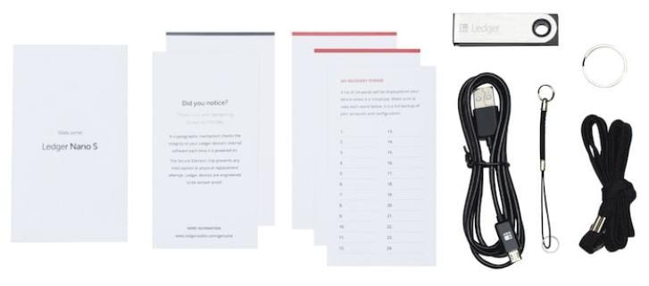 Ledger Nano S box contents