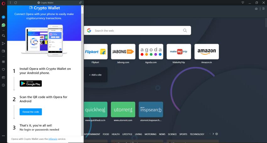 Crytpo wallet widget on Opera 60 a.k.a Reborn 3