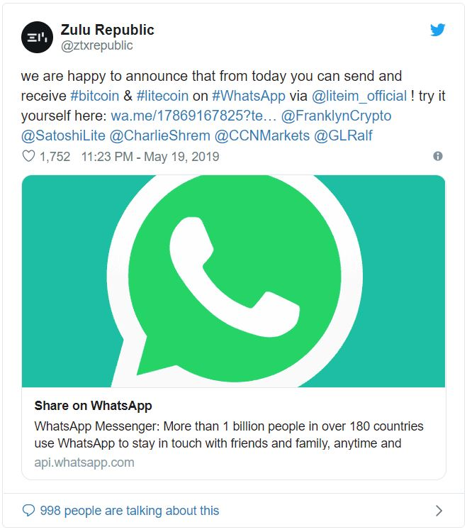 WhatsApp Now Allows Users to Accept and Send Crypto