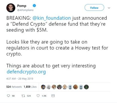 Kin foundation announces 'Defend crypto' to take on regulations in court