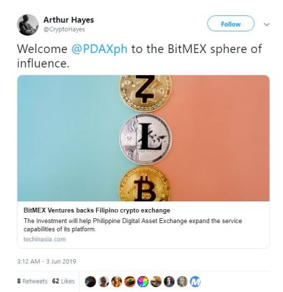 CEO of BitMEX acknowledges investment in crypto exchange, PDAX