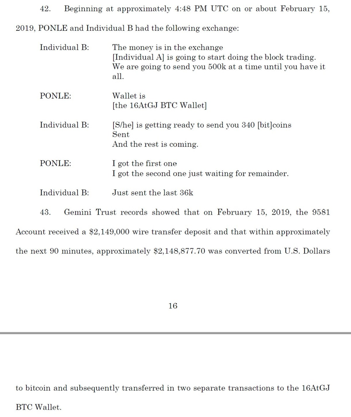 A discussion between Ponle and his associate of the Feb. 15, 2019 transaction