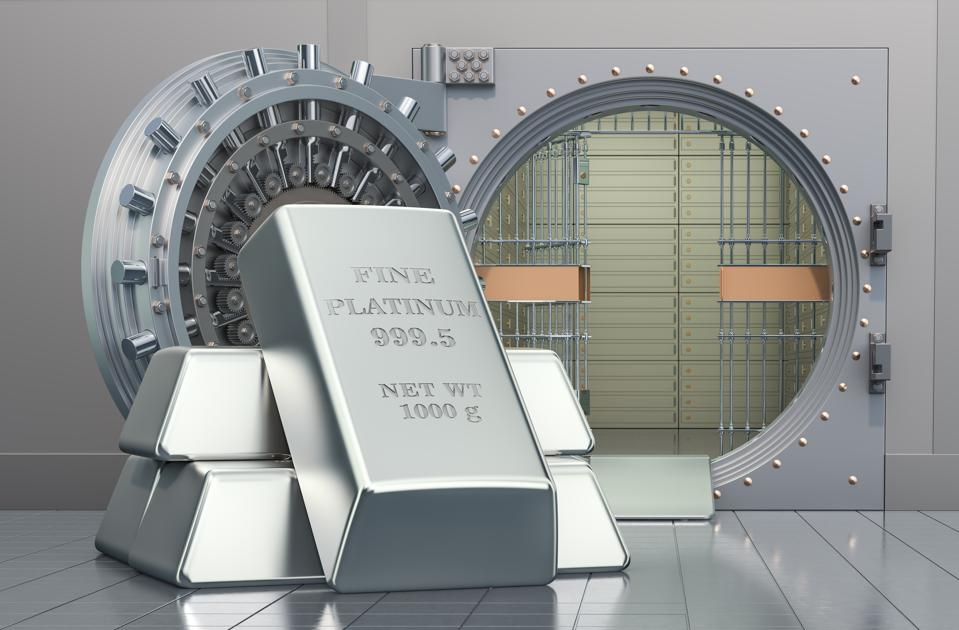Platinum ingots with opened bank vault, 3D rendering