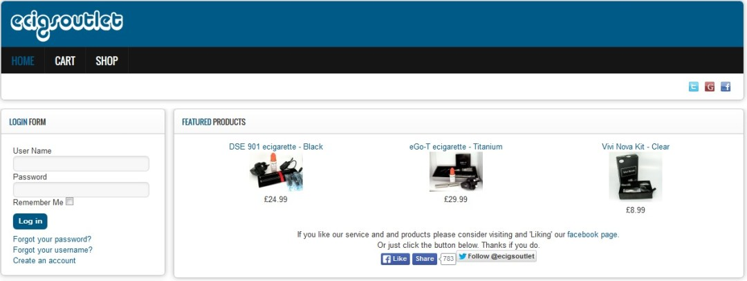 Ecigoutlet Screenshot