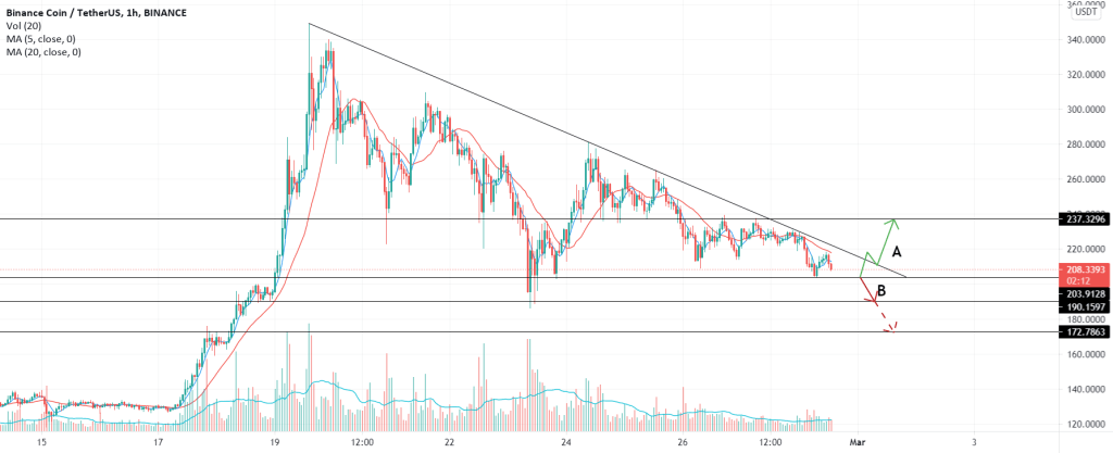BNB/USDT Close to Confirmation. What do you think? A or B?