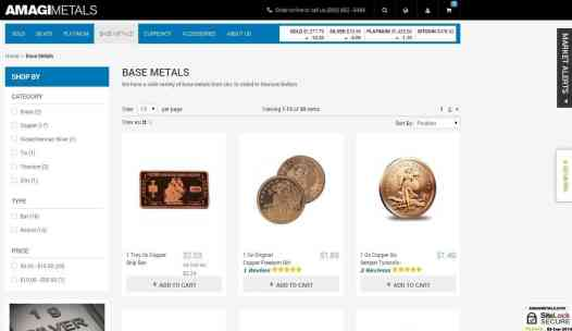 Buy a range of other base metals in bars and coins from mints around the world
