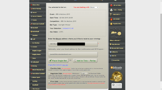 Once you see a bet you want to make, send the bitcoins to the specified address